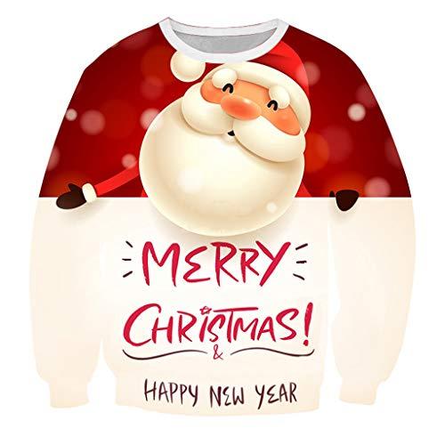 Unisex Sweatshirt Crewneck T-Shirt Langarm Sweatershirt 3D Pullover ☆Elecenty☆ Weihnachtspullover Long Ärmel Tops Bluse O-Neck Outwear Tops -