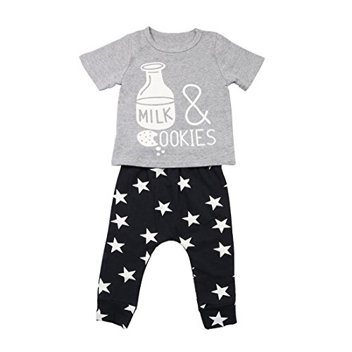 Chicolife Säugling Baby Kleidung Lustige Milch Flasche T-Shirt und Star Printed Pants Outfits Kleider Sets (Pant Flasche)