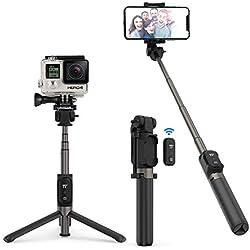 """Bastone Selfie TaoTronics Selfie Stick Treppiedi Estensibile Gopro Treppiedi in Alluminio con Telecomando Bluetooth 3.0, Cavalletto Aggiustabile per Stabilità Migliore, Batteria Ricaricabile, Compatibile con Gopro/Smartphone Android / iOS, o Action Camera con Vite di Montaggio da 1/4"""""""