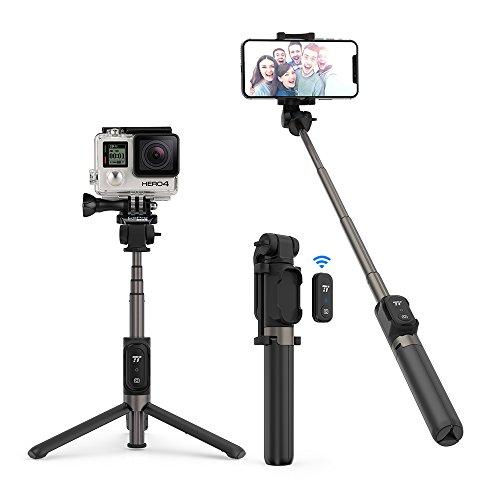 Palo Selfie Trípode TaoTronics Bluetooth 3.0, palo selfie stick 4 en 1 con remoto para GoPro, iphone x, 8, 7, 7plus, 6, 6s, huawei, samsung y más, Monopod Extensible, 360 grados de rotación