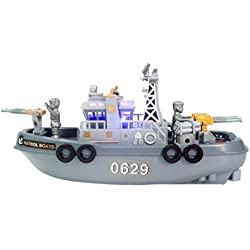 MagiDeal Juguetes Minituras Eléctricos Mini Patrulla Marina Barco Plástico Niños