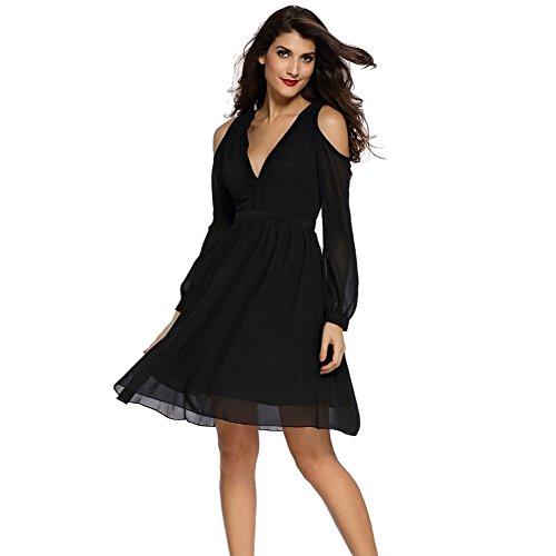 meinice-trim-dettagli-a-maniche-lunghe-skater-dress-black-large