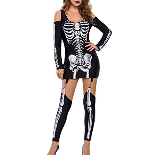 Riou Halloween Kostüm Damen Frauen Punk Halloween Skeleton Print kalte Schulter Langarm Overall Kleid Karneval kostüm - Heidi Klum Kostüm