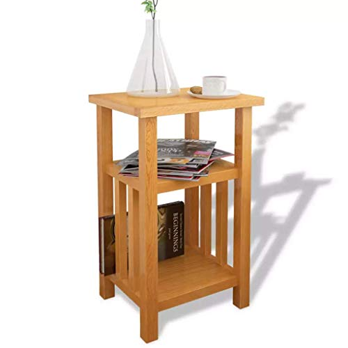 Table Basse en chêne Massif avec Porte-revues et étagère en Bois