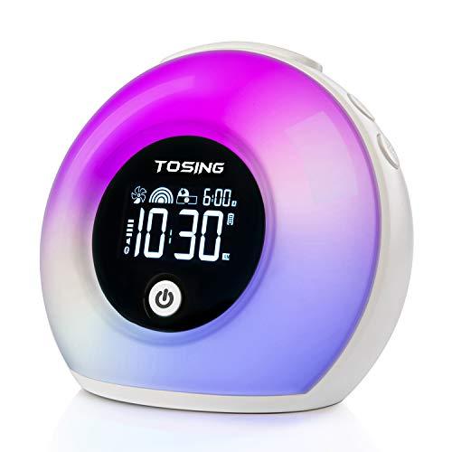 TOSING Despertador luces Lámpara de sueño Reloj Altavoz Bluetooth para niños/adultos Durmiente pesado...
