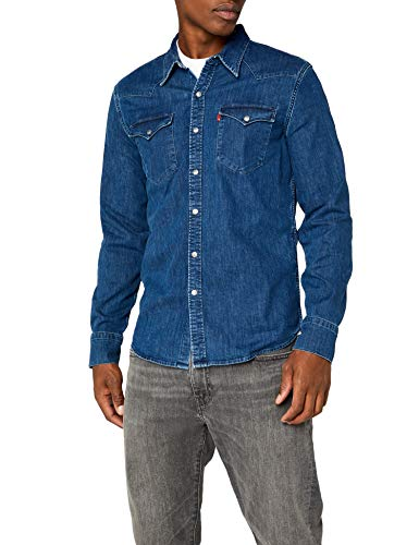Levi's barstow western, camicia uomo, blu (brooklyn stretch mid 0254), large