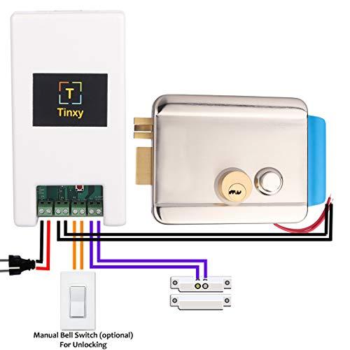 Tinxy Door Lock with WiFi Controller and Door Sensor (White)