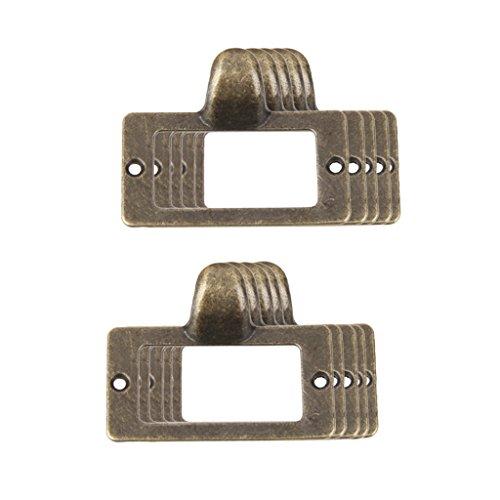 F Fityle 10 Stück Vintage Metall Etikettenhalter Etikettenrahmen Label Rahmen Halter Schrankrahmen Namensschild Halter für Schublade Schrank Aktenschrank