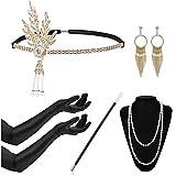 Timelike 1920s Damen Accessoires Set Halskette Handschuhe Zigarettenhalter Stirnband 20er Jahre 1920s Charleston Gatsby Retro Stil Kostüm Ball