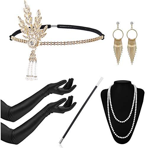 (Timelike 1920s Damen Accessoires Set Halskette Handschuhe Zigarettenhalter Stirnband 20er Jahre 1920s Charleston Gatsby Retro Stil Kostüm Ball)