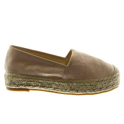 Angkorly Damen Schuhe Espadrilles - Slip-On - Seil Blockabsatz 3.5 cm Rosa