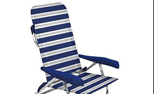 Chaise pliante en aluminium sTABIELO campingsessel - 80 cm-dossier mULTIFIBER-revêtement 100 % pVC - 5 niveaux de réglage-seulement 3,4 kg-couleur : bleu/gris - 110 kg charge maximale contre supplément disponible avec holly fÄCHERSCHIRMEN-holly ® produits sTABIELO-innovation fabriqué en allemagne-holly sunshade -