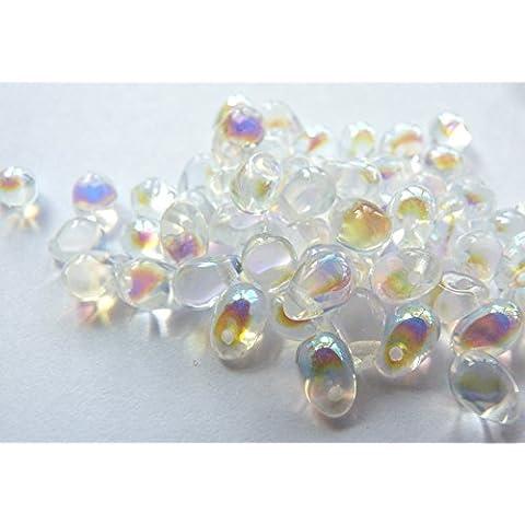 60(PC) X 6Mm In Vetro ceco Goccia Perline–crystal AB–W045