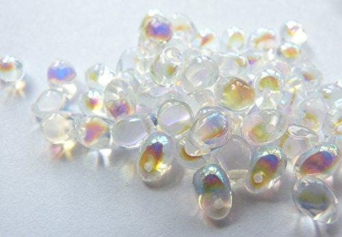 60(PC) X 6Mm In Vetro ceco Goccia Perline-crystal AB-W045