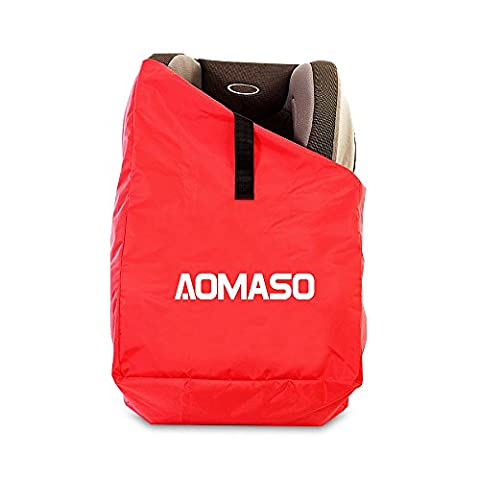 Aomaso Gate Check Seat Storage Bag With Shoulder Straps Fits Car Seats, Child Seats, Pushchair, Booster, Infant Carriers and Wheelie for Travel Airplane Flight- Red
