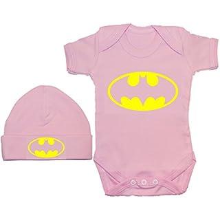 Acce Products Bat Baby Grow/Bodysuit/Romper/T-Shirt & Beanie Hat/Cap - 0-3 Months - Pink