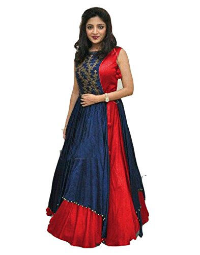 Rudra Fab Women\'s Cotton Lehenga Choli (RF-6_Red_Free Size)