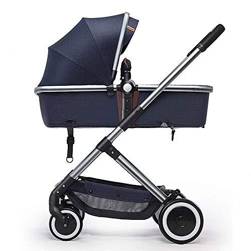 Silla de paseo plegable y multifuncional Cochecito plegable Ligera Cochecito de Bebé silla paseo reversible Carrito Carrito Bebé sistema de arnés de 5 puntos para 0-3 años Carga hasta 15KG ,Azul