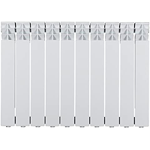 Calefactor de paneles de aluminio, 1039W, 820X600X90 mm, 10 elementos, color blanco