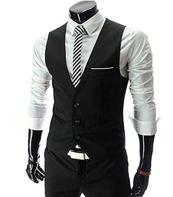 Cenizas Men's Waistcoat (MWCW004BLK36_Black)