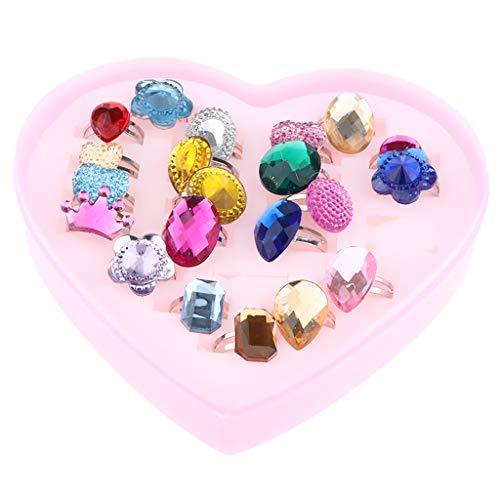 F Fityle Einstellbare Ringe für Kleine Mädchen Schmuck Kinderringe mit Herzform Box - 24 pcs