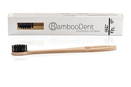 BambooDent - Die ökologische Zahnbürste | Natürlich Weiße Zähne | Mittel Weiche Aktivkohle Borsten | Schmaler Weicher Bambus Griff | Biologisch Abbaubare Bambus Handzahnbürste | 100% BPA Frei und Natürlich