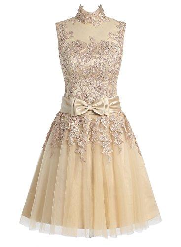 Dressystar Damen Kurz Brautkleid für Standesamt Spitze Champagner