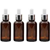 4 botellas de cristal ámbar de 30 ml con gotas de ojos de cristal vacías recargables para aceites esenciales,.