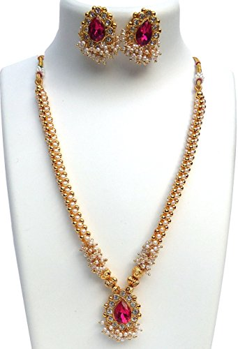 Kreations traditional 1 Gram Micro Gold Plated Pink Pendent Gugari Style Thushi Necklace Jewellery Set With Earrings for Girls And Women  available at amazon for Rs.990
