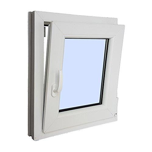 VENTANASTOCK - Finestra singola in PVC, con apertura lato sinistro, sistema anta-ribalta, in vetro Carglass, dimensioni: 500 x 600 cm