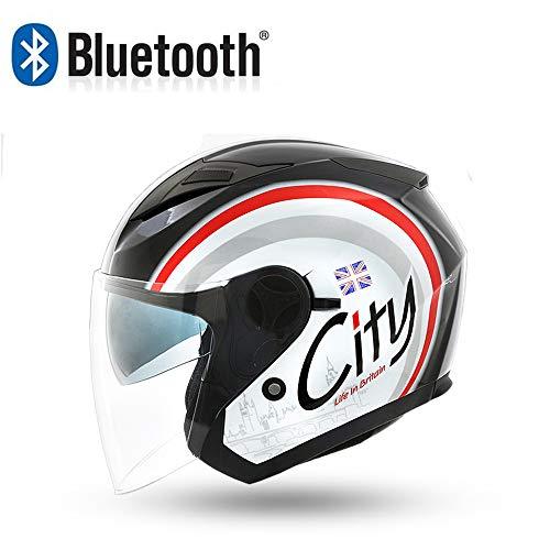 Dongjiuk Casco Moto Femminile Open-Face Bluetooth - per ciclomotori, Scooter, Moto, Motociclisti e Motociclisti, Comunicazione a Mani libere/Musica/Lettore di Alta qualità