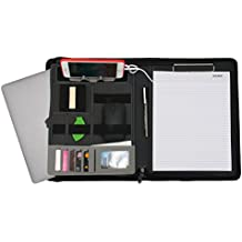 Carpeta de curriculum vitae de la cartera ejecutiva de Padfolio Organizador de documentos con cargador portátil Portapapeles de tamaño carta, con cremallera, imitación de cuero,gris