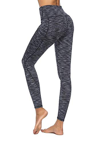 Hibbent Legging Femme Pantalon d'Entraînement Course de Sport Yoga Fitness Gym Pilates Taille Haute Gaine avec Poche latérale