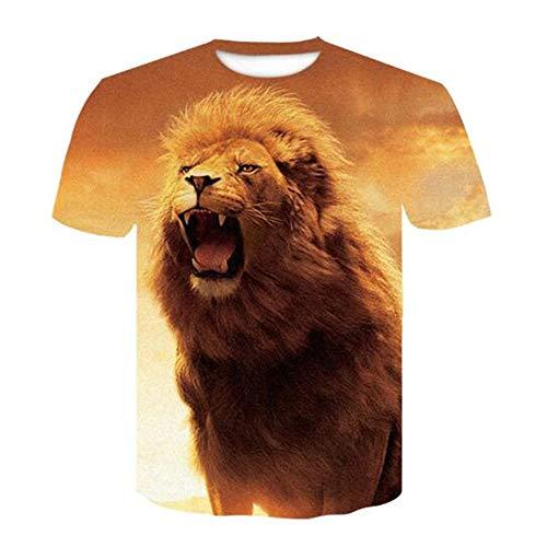 T-Shirts Fitness Jogging Movement Shirt Männer Schädel Bedruckt Kurzarm T Slogan,3D Gedruckter Löwe - 2 gelbe L ()