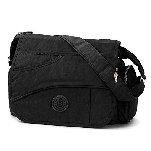 DrachenLeder Bag Street Umhängetasche Überschlagtasche Crossover Nylon schwarz OTJ214S