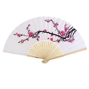 Tinksky Legno pieghevole Plum Blossom Fan panno tessuto mano Fan