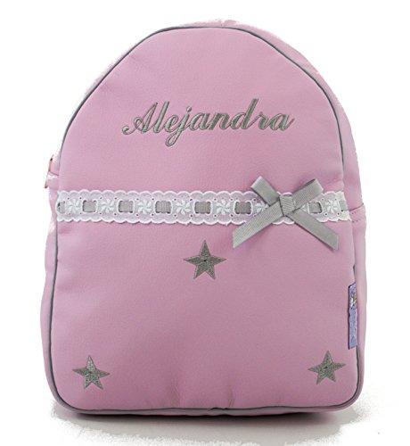 Mochila infantil personalizada con nombre en ecopiel rosa con estrellas bordadas