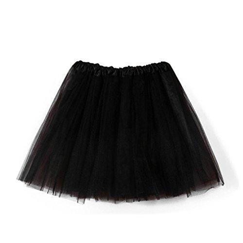 Damen Tutu Unterkleid Röcke , Petticoat Kleid 50er Rockabilly|Festliches Damenkleid|Blickdicht Fluffiger Ballettrock|Unterröcke Brautkleid Tüllröcke | Karneval Fasching Kostüm (Einheitsgröße, Schwarz) (Schwarz Und Weiß Mädchen Kostüm)