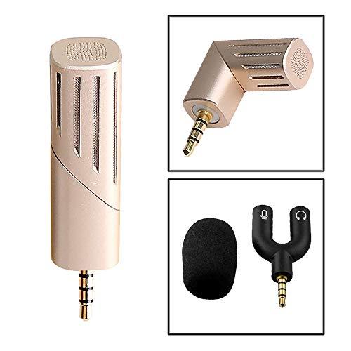 ZYG.GG Mini Mikrofon Konferenz Interview Aufnahmegerät, 3,5 Mm 90 Grad Drehung Mini Elektret Kondensator Handy Karaoke Aufnahme Kondensator Mikrofon,Gold