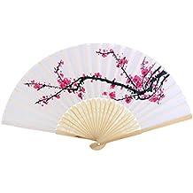 WINOMO Ventilador de mano paño tela madera ciruelo flor patrón en abanico plegable