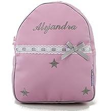 BORDAYMAS/Mochila infantil personalizada con nombre en ecopiel rosa con estrellas bordadas