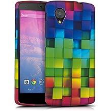 kwmobile Funda para LG Google Nexus 5 - Case para móvil en TPU silicona - Cover trasero Diseño arco iris dado en multicolor verde azul