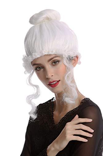 Wig me up ® -68539-p60 parrucca donna carnevale storica biedermeier romanticismo rinascimento mondo antico barocco bianco
