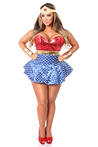 Gänseblümchen-Corsett, 3-teiliges Superhelden-Korset-Kostüm - Rot - 4X Plus (Superhelden-kostüme Größe Plus)