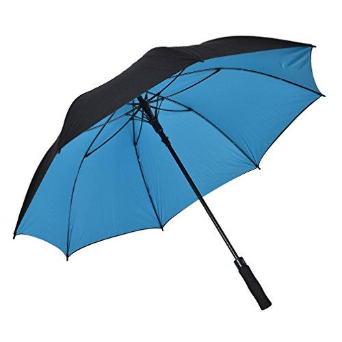 Atree Grand parapluie droit à ouverture automatique avec 8rayons 157,5cm - Double couche, fonction coupe-vent, durable et très solide - Pour le golf - Sac de transport inclus, 62Inch-Blue