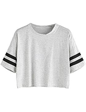 SOLYHUX Camiseta para Mujer Manga Corta,Camiseta con Rayas Cuello Redondo,Blanco S-L