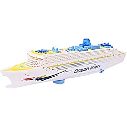 BEETEST Niños bebés eléctricos Flash LED luces sonidos transatlántico crucero barco modelo de juguete