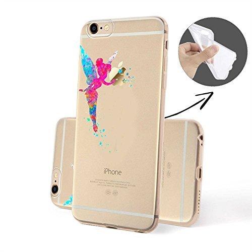FINOO Coque pour téléphone portable Transparent Silicone Motifs 3 - Coloré Faon de chevreuil SILICONE, Iphone 5/5S Multicolore Fée SILICONE