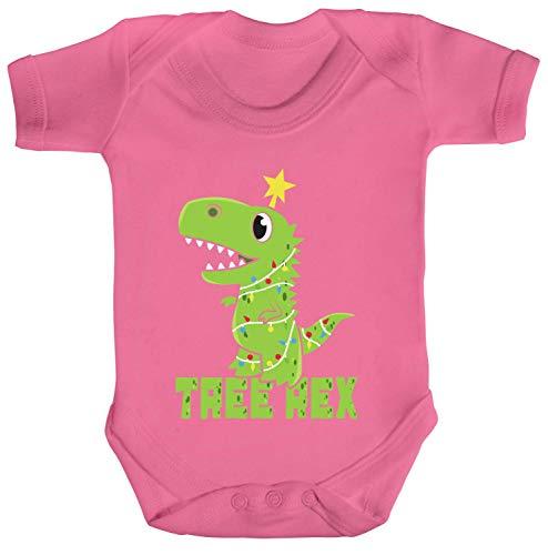 ShirtStreet süßes T-Rex Strampler Bio Baumwoll Baby Body Kurzarm Jungen Mädchen Tree Rex, Größe: 3-6 Monate,Bubble Gum Pink