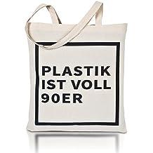 AVOID WASTE - Jutebeutel bedruckt - Plastik ist voll 90er - Nachhaltige Einkaufstasche mit Aufdruck und langen Griffen